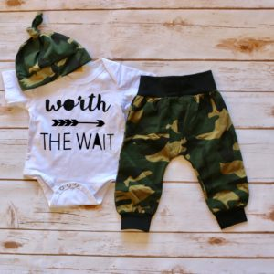 """Worth the wait"" Black and Army Print Outfit"