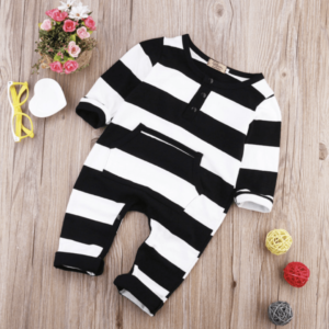 Black and White Stripe Footless Onesie