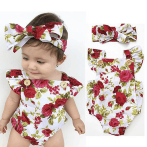 Ruffle Rose Romper with Headband