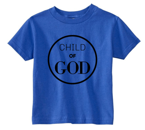 royal blue child God t-shirt