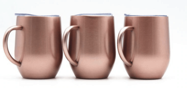 rose gold stainless steal coffee tumbler