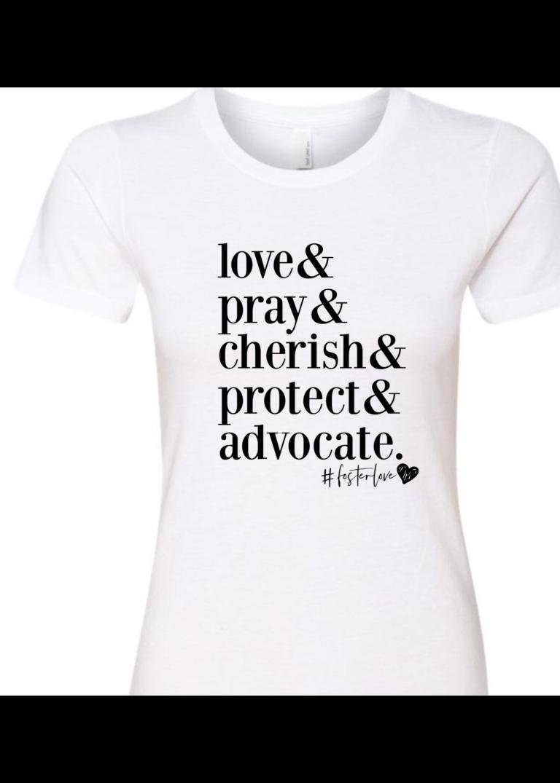 love & pray & cherish t-shirt